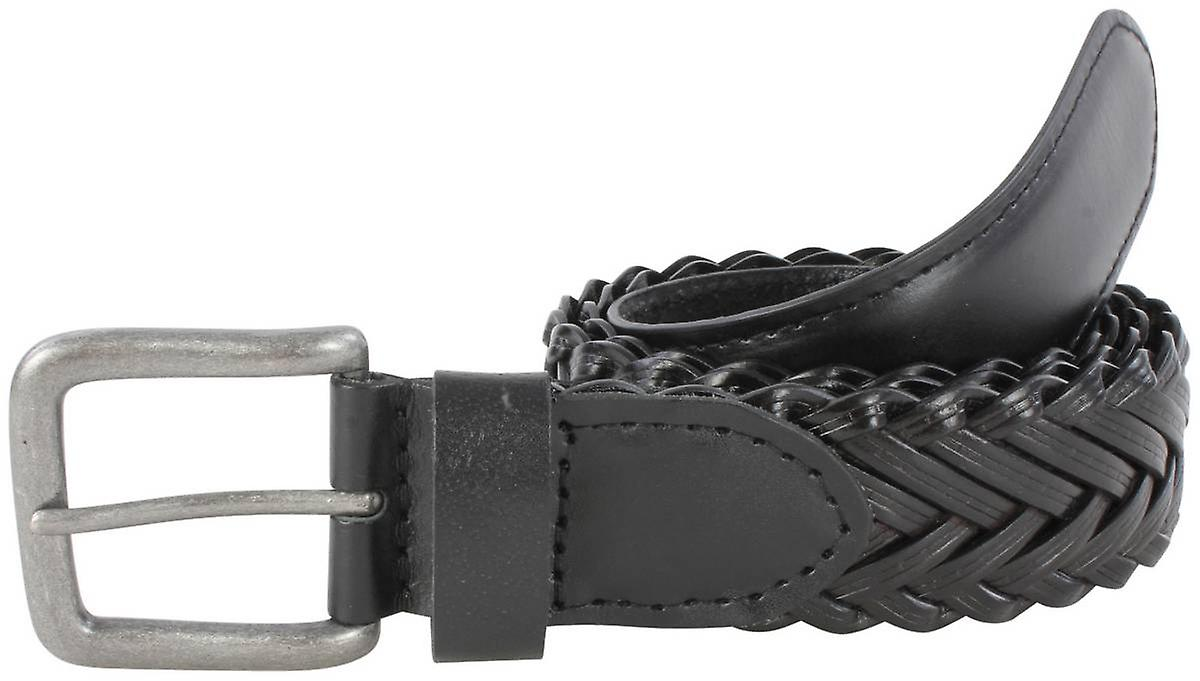 Dents Plaited Detail Leather Belt - Black