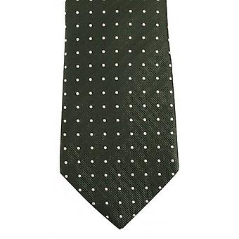 Bassin and Brown Medium/Large Spot Silk Tie - Green/Orange
