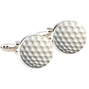 Bassin and Brown Round Golf Ball Cufflinks - White