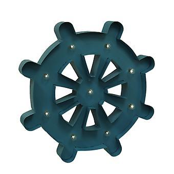 Blåt lys op 24 tommer nautiske skib hjul vægtæppe med fjernbetjening