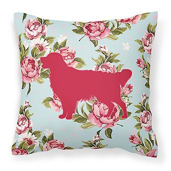Golden Retriever Shabby Chic Blue Roses Canvas Fabric Decorative Pillow BB1085