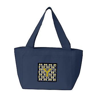 Carolines tesori CJ1074-YNA-8808 lettera Y calcio blu e oro pranzo borsa