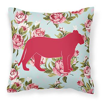 Tiger Shabby Chic Blue Roses   Canvas Fabric Decorative Pillow BB1010