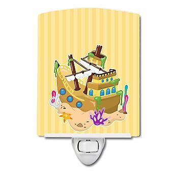 Carolines Schätze BB8836CNL Strand Piraten Schiff Keramik Nachtlicht