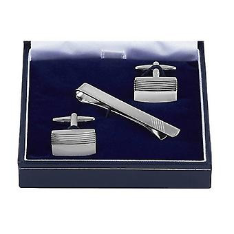 Orton West Grill Texture Cufflinks and Tie Bar Set - Silver