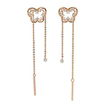 Beautiful Gold Plated Butterfly Shaped Clear Cubic Zirconia Drop Earrings