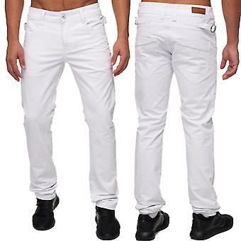 Men's Slim fit jeans pants white five-Pocket style straight leg buckle