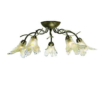 Lily Antique Brass And Glass Five Light Semi-flush Fitting - Searchlight 5495-5ab