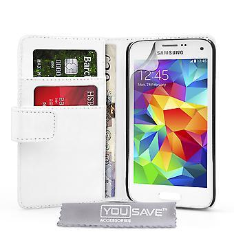 Галактика Samsung S5 мини-кожа эффект бумажник чехол - белый