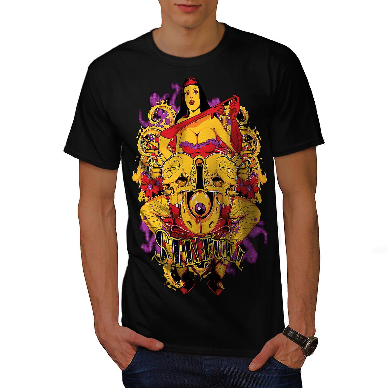 Girl Nude Hot Skull Sexy Men Black T-shirt | Wellcoda