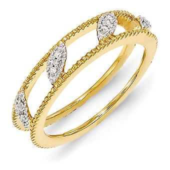 4.75mm Sterling Silver Polished Prong set Stackable Expressions Gold-Flashed Diamond Jacket Ring - Ring Size: 5 to 10