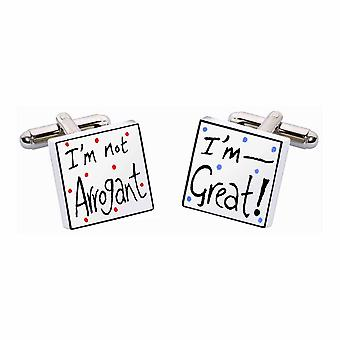 I'm Not Arrogant, I'm Great Cufflinks by Sonia Spencer, in Presentation Gift Box. Hand painted