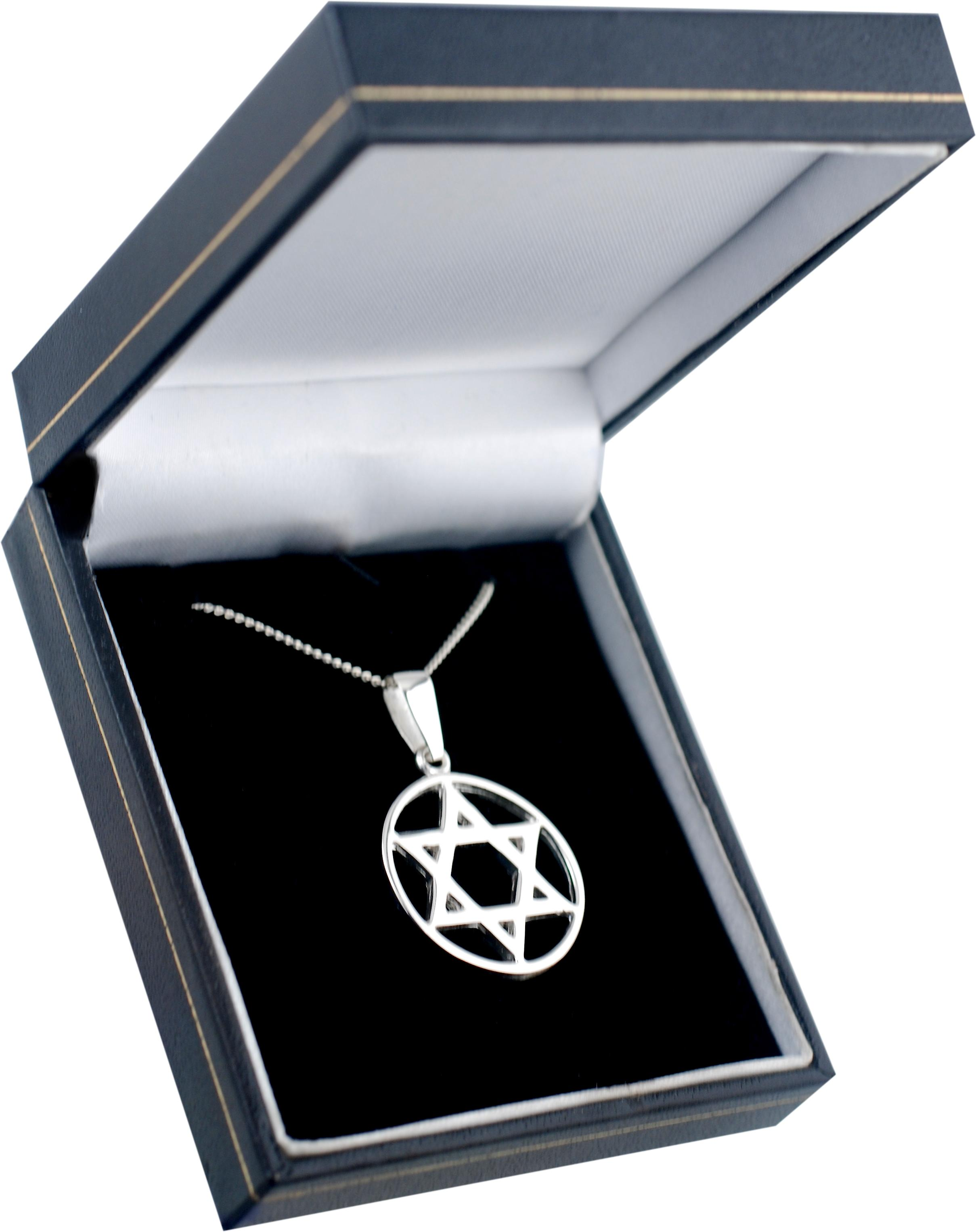 Silver 25mm plain Star of David in circle Pendant with a curb Chain 22 inches