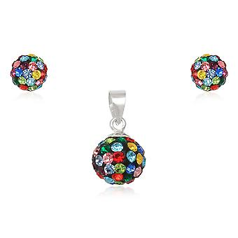Jewelry pendant and earrings Multicolor and 925 Silver Crystal