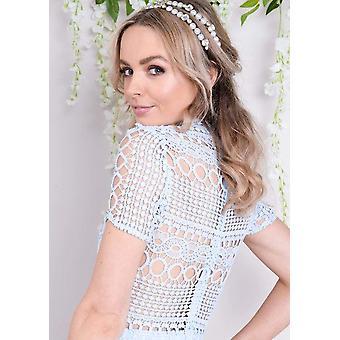 Stehkragen Crochet Lace figurbetonten Kleid blau