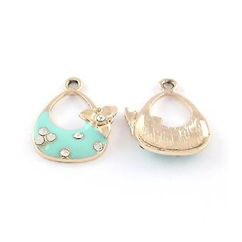 5 x Rose Gold/Pale Blue Enamel & Alloy 18x23mm Handbag Charm/Pendant Y07370