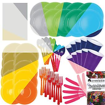 Party decoration tableware set color your party 15 colors 62-teilig party package