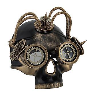 Spidse Steampunk dødningehoved maske w/rør Gears & beskyttelsesbriller