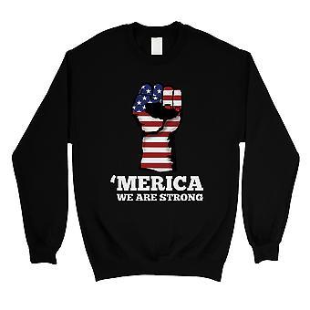 Merica wir starken schwarzen Rundhals Sweatshirt politischen Angebot Geschenke