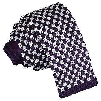Hvite og lilla sjekk strikket tynne slips