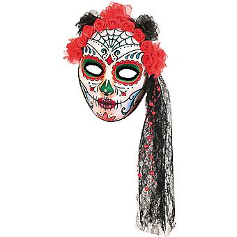 Mask Mexico day of the dead mask flower veil Halloween