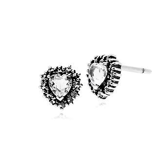 Gemondo zilveren kleurloos Topaz & Marcasiet Heart Stud Earrings Stud Earrings