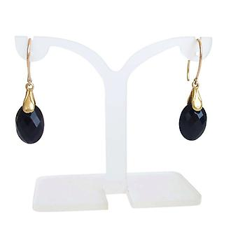 Black Onyx earrings Onyx black gold plated