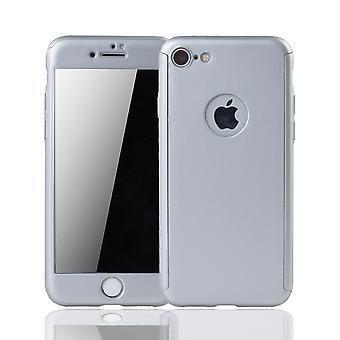 Apple iPhone 8 mobiele zaak bescherming kast 360 volledige dekking tank bescherming glas zilver