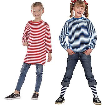 Stripy shirt long sleeve yarn dyed white blue girl costume