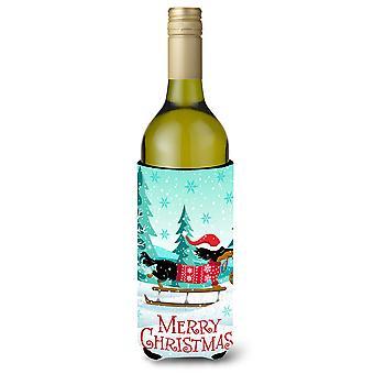 Feliz Navidad Dachshund botella de vino bebidas aislador Hugger