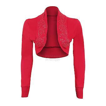 Ladies Long Sleeve Floral Beaded Sequin Women's Bolero Shrug Crop Cardigan