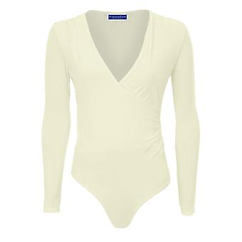 Ladies Long Sleeve Soft Basic Slinky Plunge V Neck Wrap Leotard Bodysuit