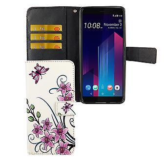 HTC U12 + plus Pocket mobile case protection cover Flip case with card holder Lotus Flower