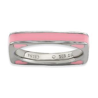 3,25 mm argento rodiato impilabile espressioni lucidato anello quadrato smaltato rosa - formato dell'anello: 5-10