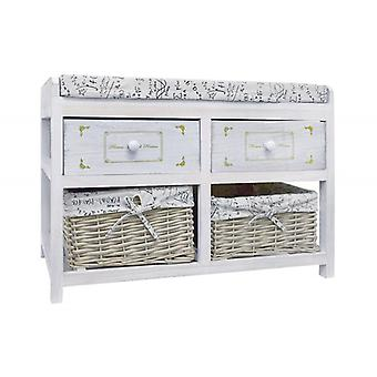 Bench White Shabby Box decorated with Engravings-mobile Re4074-Rebecca