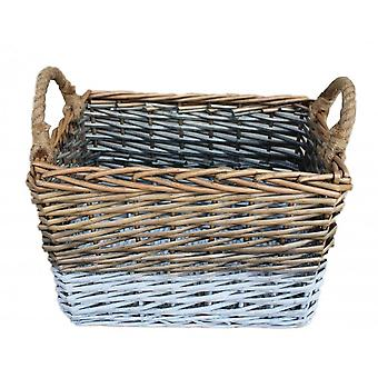 Large Rectangular Triple Tone Chunky Wicker Storage Basket