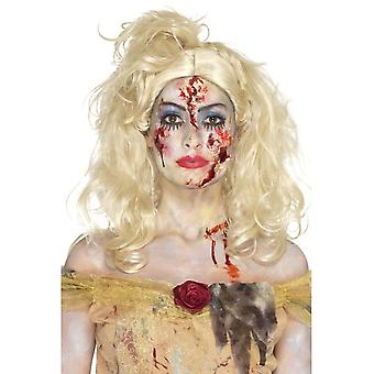 Zombie Fairy Tale Make Up Kit, Multi-Coloured, with Face Paints, Latex, Lashes, Gems, Shimmer Powder, Blood & Applicator