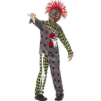 Deluxe Twisted Clown Costume, Multi-Coloured, with Top, Trousers & EVA Mask with Hair
