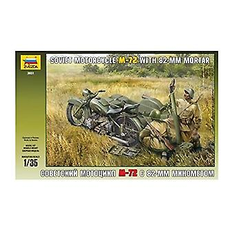 Zvezda 1:35 WWII Russische motorfiets M 72 met mortel
