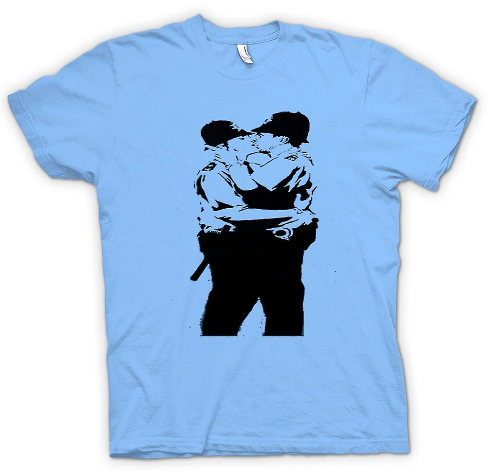 Mens T-shirt - Banksy Graffiti Art - Gay polis