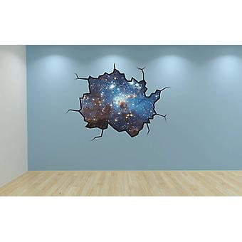 Full Colour Stars Cracked Wall Effect Wall Sticker