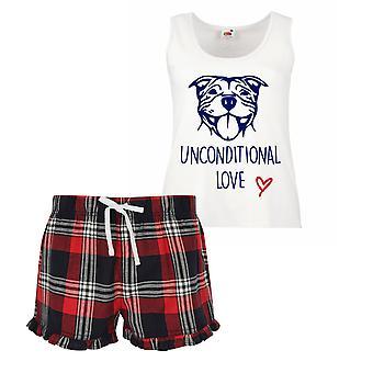 Staffy Unconditional Love Pyjamas Ladies Tartan Frill Short Pyjama Set Red Blue or Green Blue