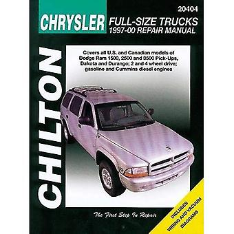 Chilton Chrysler pleine grandeur, camions de reparation 1997-01: Covers All U.S. et Canandian modèles: Dodge Ram 1500, 2500 et 3500 pick-ups (1997 - 01), Dakota (1997-00) et Durango (1997-00); 2 et 4 roues motrices; Essence et moteurs Diesel Cummins