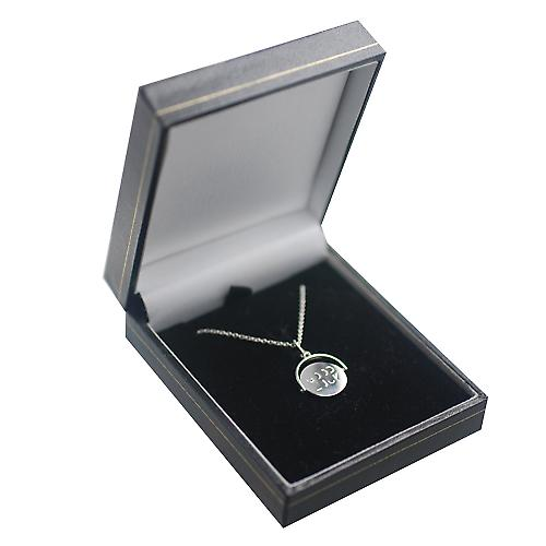 Silver 15x16mm round Good Luck spinning disc Pendant with a rolo Chain 20 inches