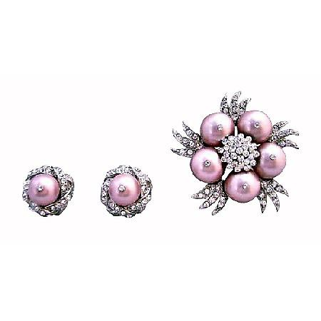 Swarovski Powder Rose Pearls Diamante Brooch with Earrings Jewelry
