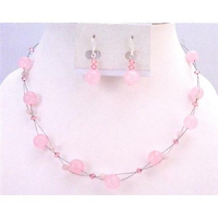 Wedding Pink Jewelry Rose Quartz Fancy Glass Beads With Genuine Swarovski Rose Crystals Floating Illusion set