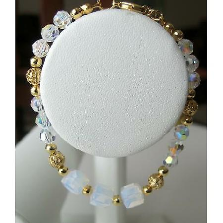 Gorgeous!! Swarovski AB Crystals w/ GOld Plated Beads Bracelet