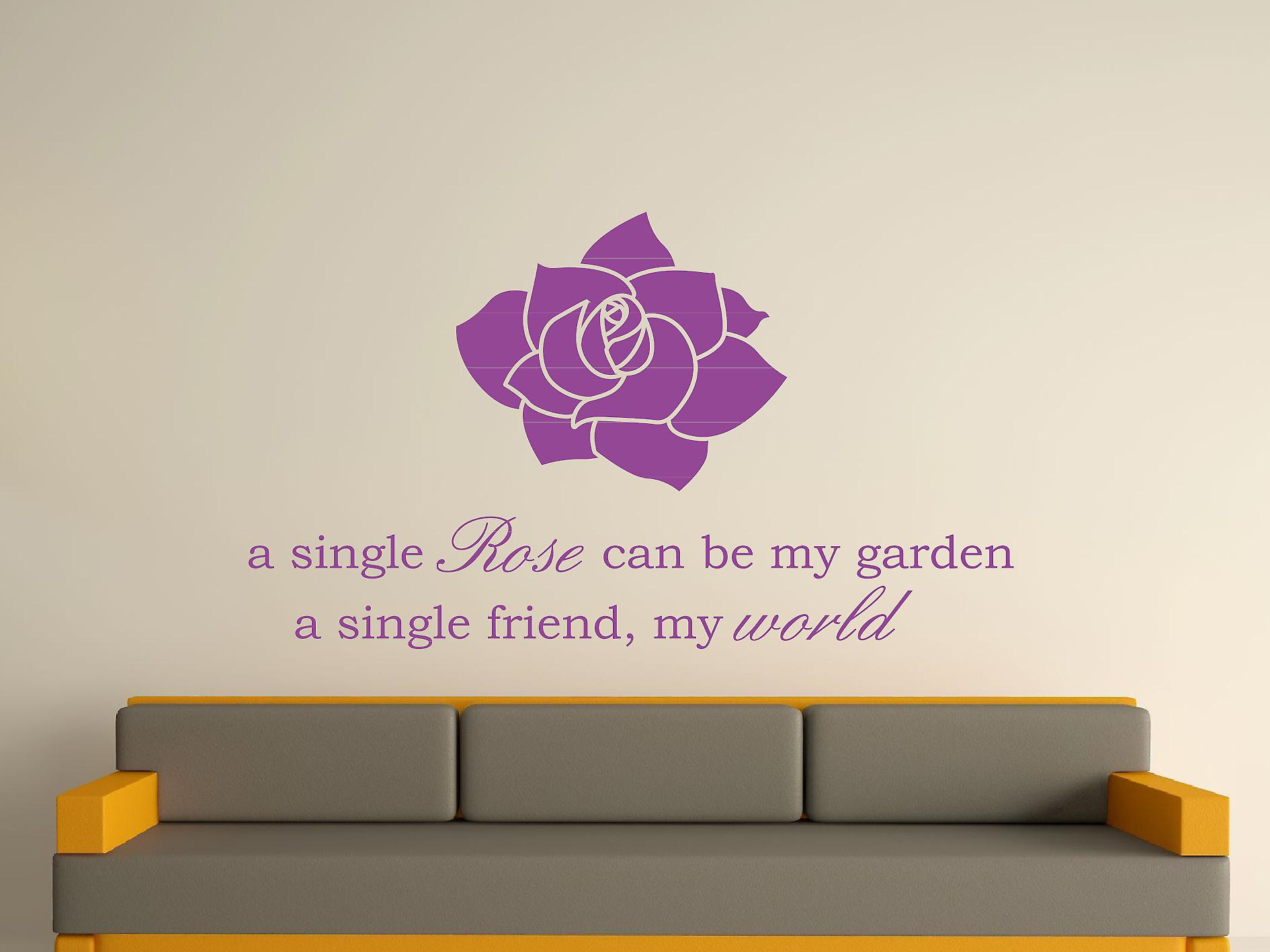 A Single Rose Wall Art Sticker - Purple