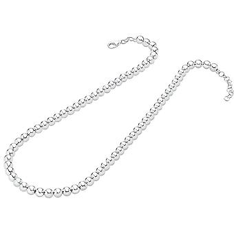 Bella Polished 6mm Bead Necklace - Silver