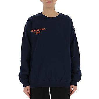 Semi-couture Elisa Blue Cotton Sweatshirt